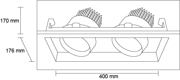 DOWNLIGHT LED DN-2X40-BN Diagrama HB LEDS
